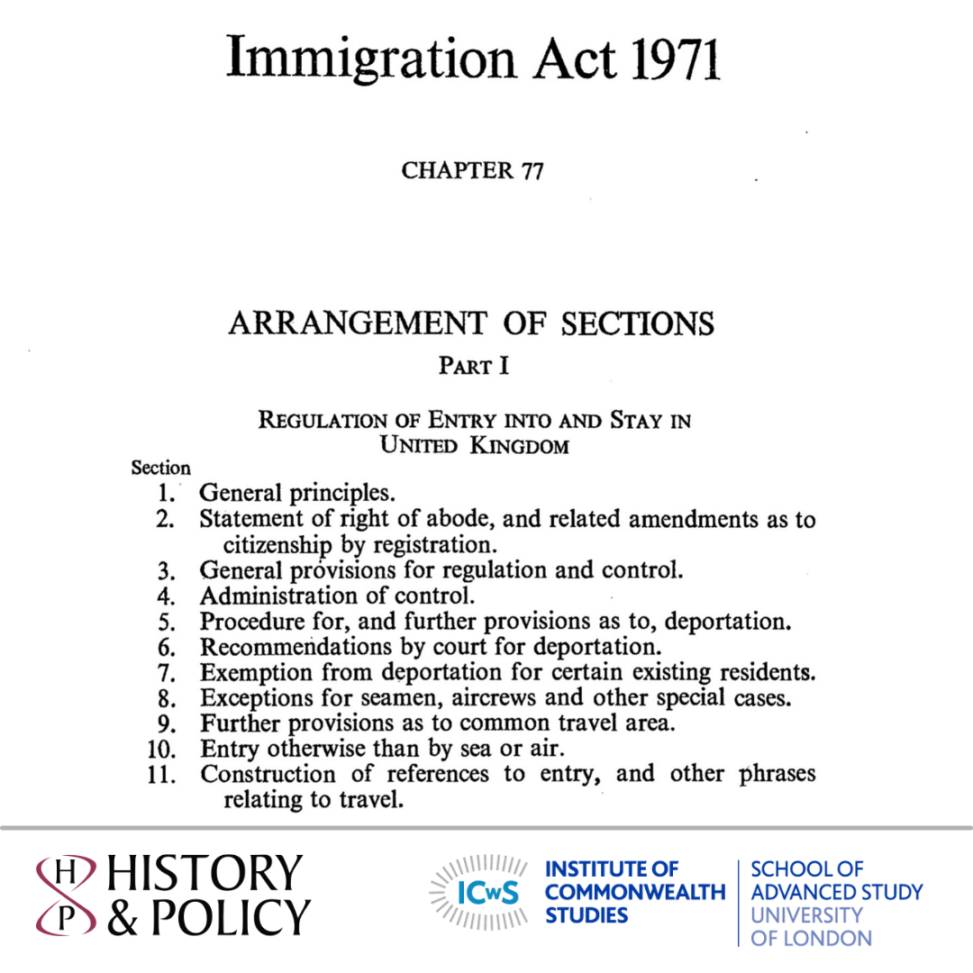 The Legacies of the 1962 and 1971 Immigration Acts: Historians and Lawyers in conversation